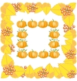 Autumn frame with leaves and pumpkin vector image