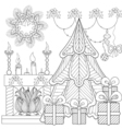 Patterned Christmas home interior with fireplace vector image