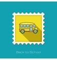 School Bus flat stamp vector image