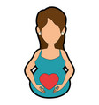 woman pregnant with heart vector image