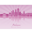 Baltimore skyline in purple radiant orchid vector image