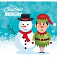 funny snowman elf snow blue background vector image