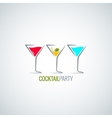 cocktail party glass menu background vector image