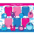 School timetable monsters vector image