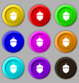 Acorn icon sign symbol on nine round colourful vector image