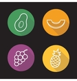 Tropical fruits flat linear icons set vector image