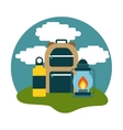 camping bag and lantern icon vector image