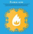Fire flame Floral flat design on a blue abstract vector image