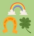 st patricks day icons and leprechaun vector image