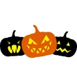 Three pumpkins vector image