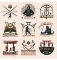 Samurai Colorful Emblems Set vector image