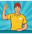 Happy fast food worker takes the order vector image
