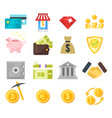 flat style set of finance icons vector image