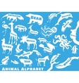 Animal alphabet poster for children Animals vector image