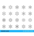 20 line snowflakes vector image vector image