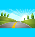 cartoon landscape sun cloud hill vector image