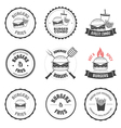 Set of burger and fries restaurant design elements vector image
