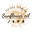 oil emblem over sunflower sketch vector image vector image