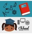 cartoon pupil girl graduation book laboratory vector image