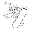 Cartoon Santa Claus makes jump on snowboard vector image
