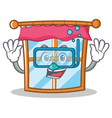 diving windows character cartoon style vector image