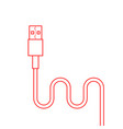 red thin line usb cable vector image