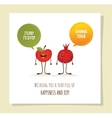 Funny apple and pomegranate on a card for rosh vector image