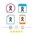 ribbon sign icon breast cancer awareness symbol vector image