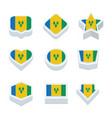 st vincent amp the grenadines flags icons and vector image