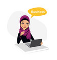 arab business woman works with laptop on table vector image