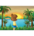 young girl watching the river vector image vector image