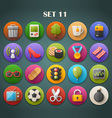 Round Bright Icons with Long Shadow Set 11 vector image vector image