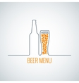 beer bottle glass menu background vector image vector image