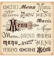 Menu Vintage Lettering Texts vector image vector image