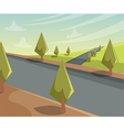summer landscape scene with trees and road vector image