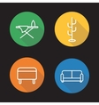 Furniture flat linear icons set vector image
