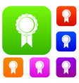 rosette with ribbon set collection vector image