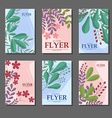 Set of blue and pink vertical cards with flowers vector image