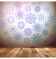Winter interior walls decorated snowflakes EPS 10 vector image vector image