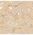 Seamless background with sketches of sewing tools vector image