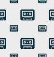 audiocassette icon sign Seamless pattern with vector image