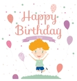 Birthday Party Invitation card with cute jumping vector image