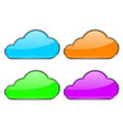 cloud icon shiny colored icons with chrome frame vector image