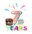 happy seventh birthday anniversary vector image