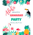 tropical floral poster with toucan and flamingo vector image
