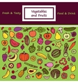 Vegetables and Fruits Doodle Card vector image