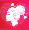 profile silhouette of a girl with hair on the vector image