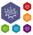 wow explosion effect icons set hexagon vector image