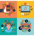 Music app consept 4 flat icons vector image