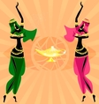 two oriental dancing girls vector image vector image